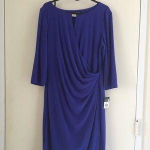 Lauren Ralph Lauren Keyhole Faux-Wrap Dress